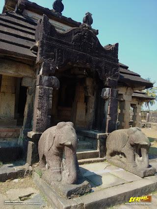 A close-up of Neminatha Basadi Jain Temple of Varanga