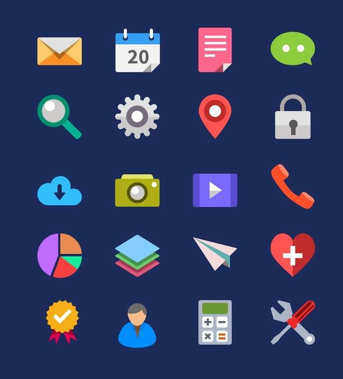 20 Flat Icons (PSD)