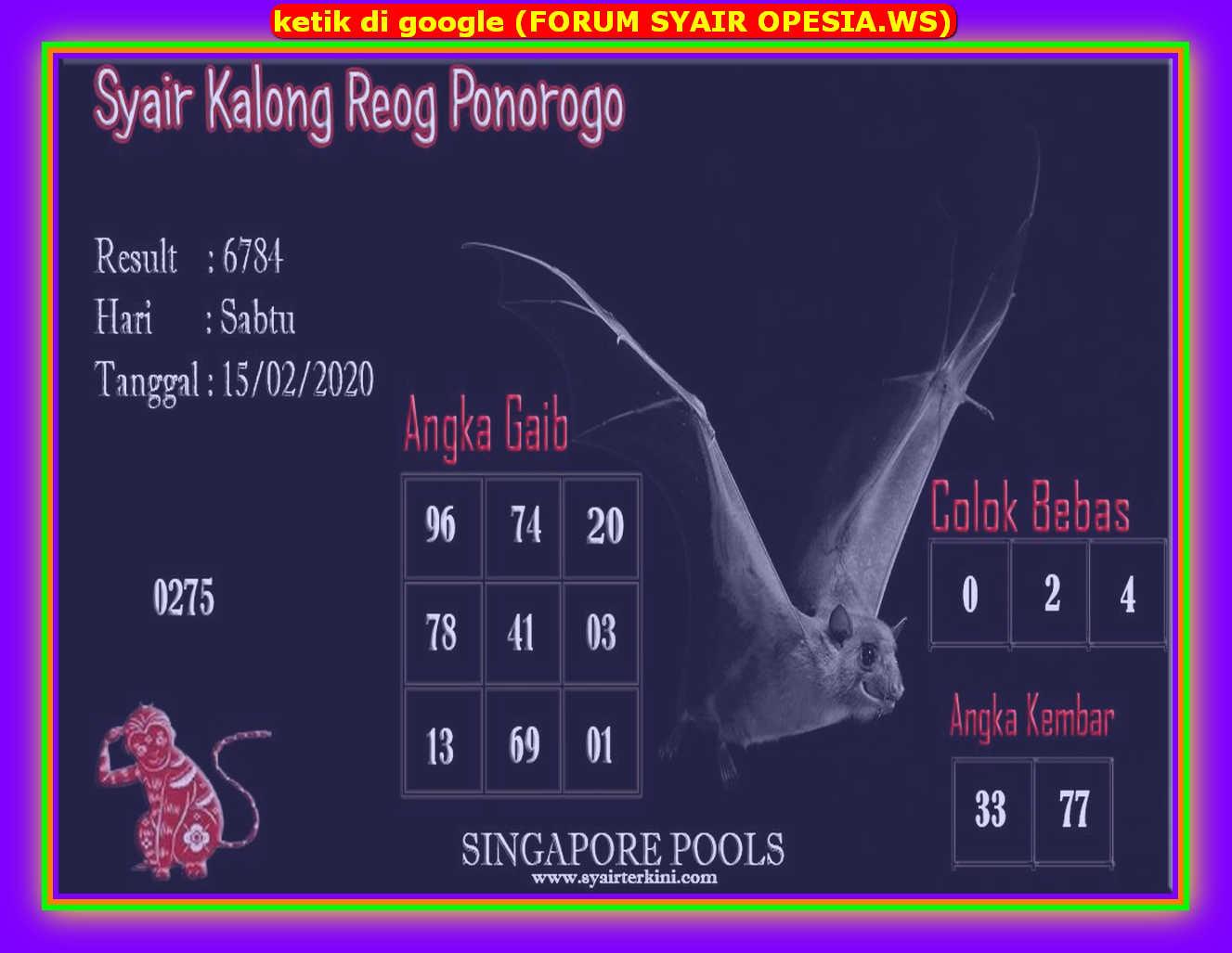 Kode syair Singapore Sabtu 15 Februari 2020 64