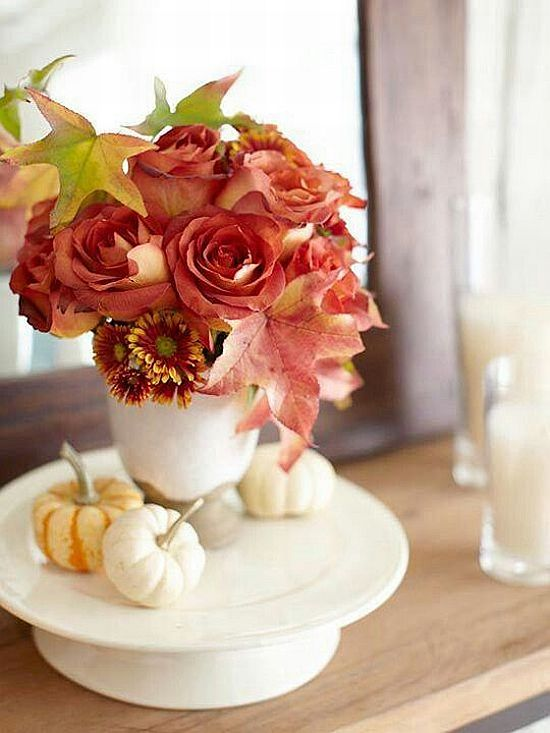 lovely fall flower decoration with coral roses