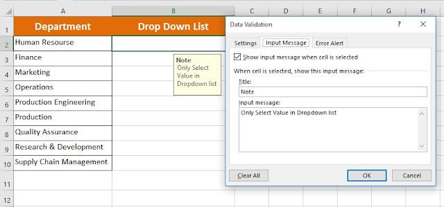 Input Message Using Data Validation