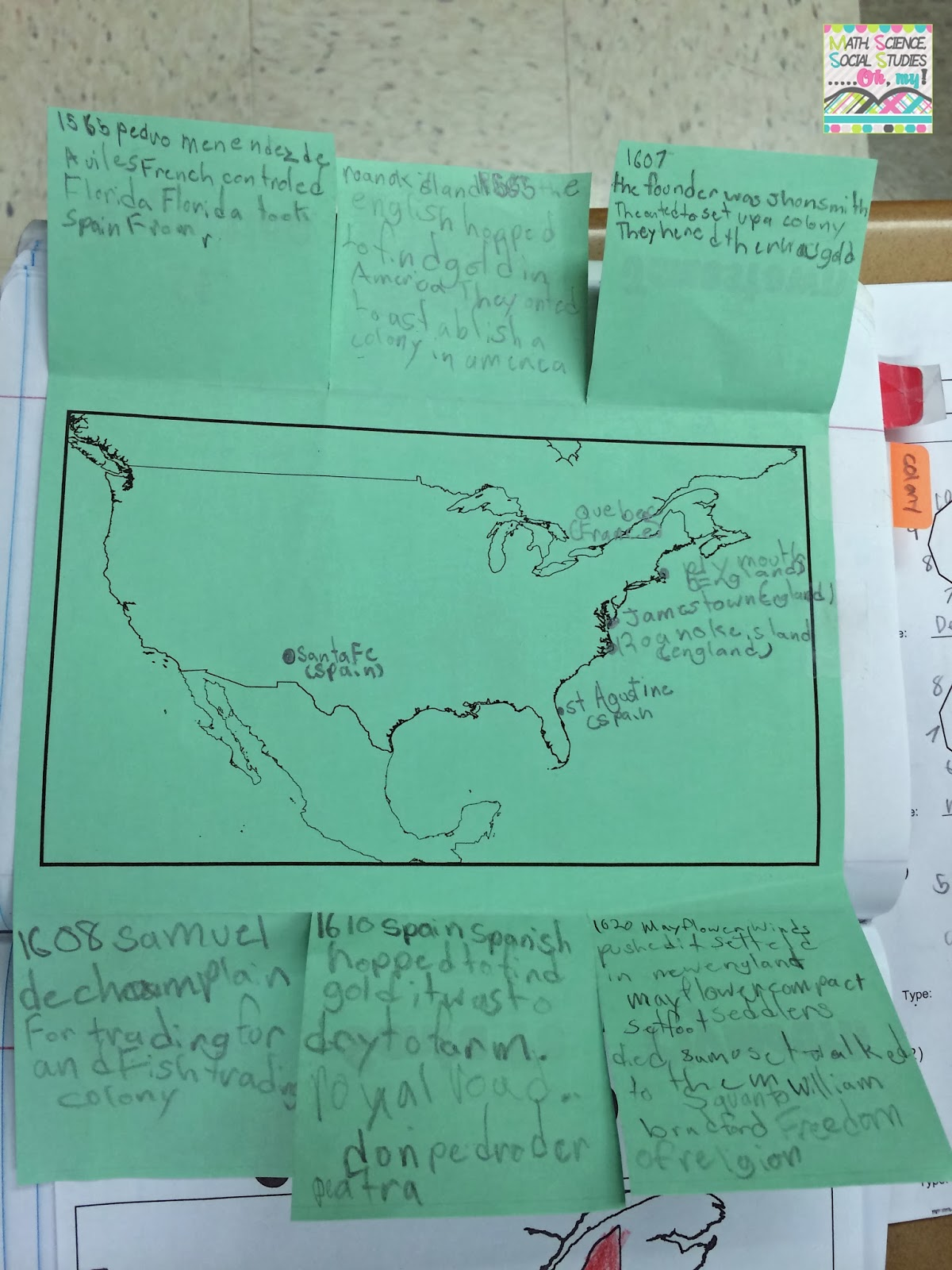 Math Science Social Stu S Oh My Foldable Friday Early European Settlements In North