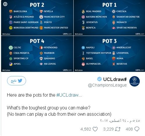 قرعة دوري أبطال أوروبا 2017