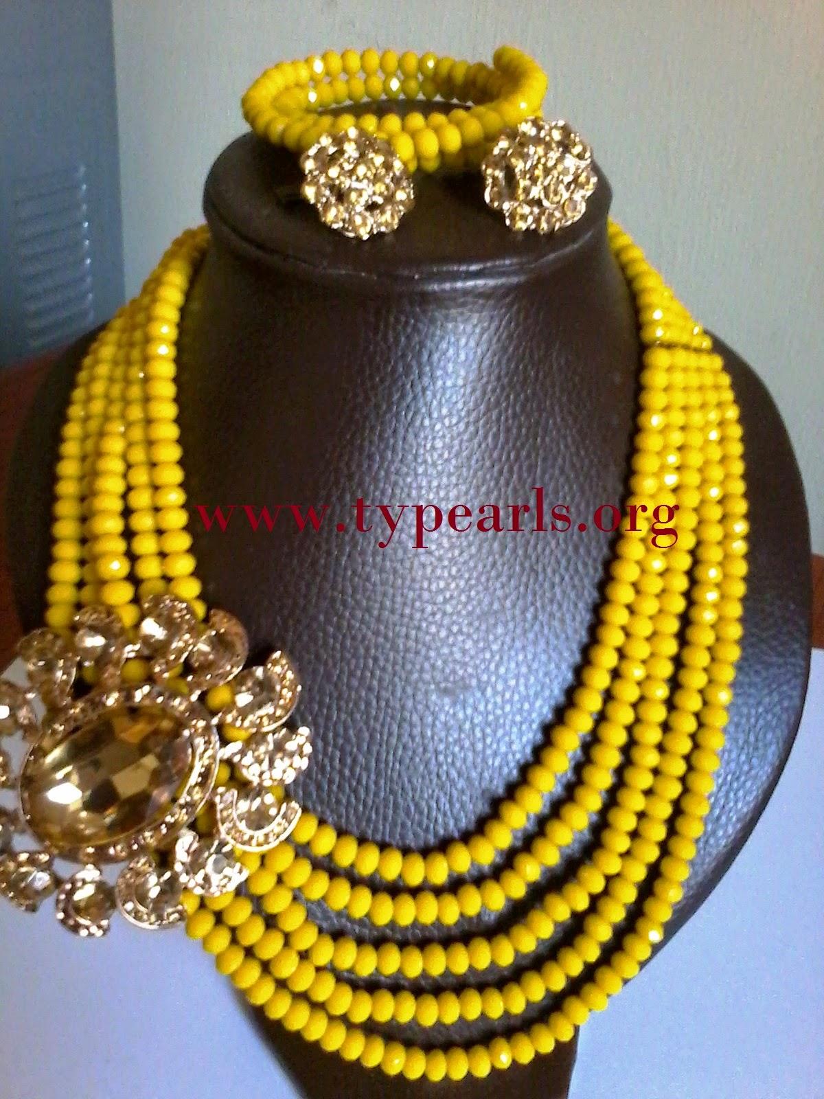 yellow layered beads