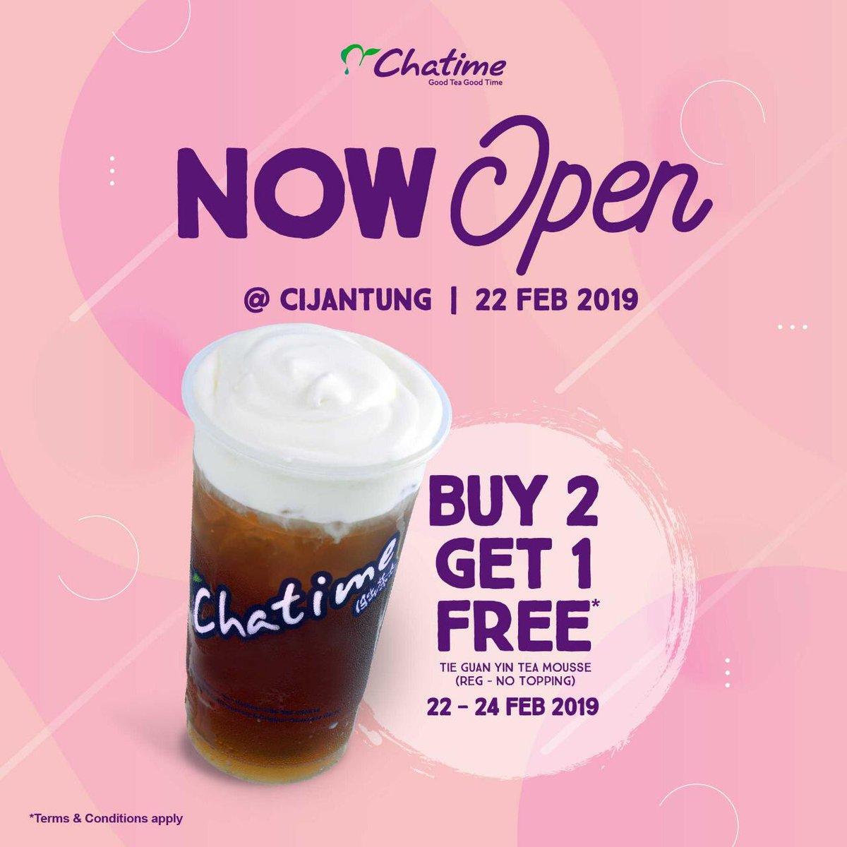 #Chatime - #Promo Opening Buy 2 Get 1 Free di Cijantung (s.d 24 Feb 2019)