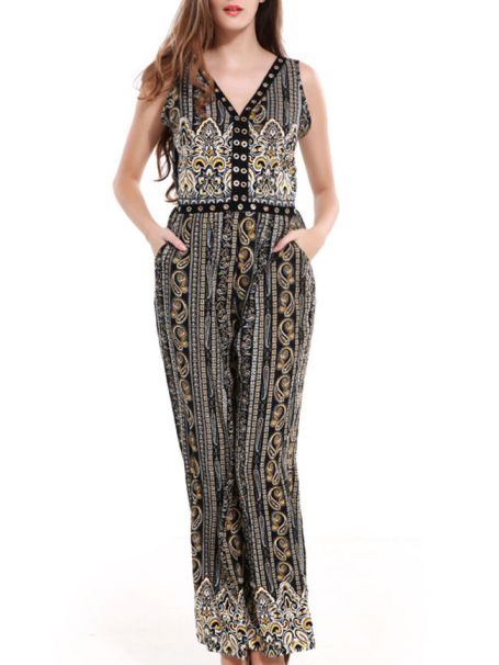 Tribal Printed V-Neck Pocket Back Hole Wide-Leg Jumpsuit -Flash Sale (Extra 15% Off): US$24.61