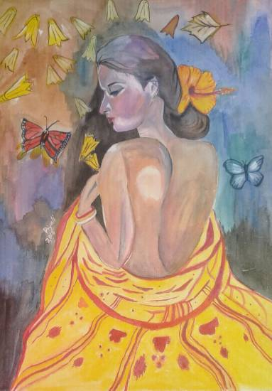 A Bashful Woman, watercolour painting by Piyali Mitra (www.indiaart.com)