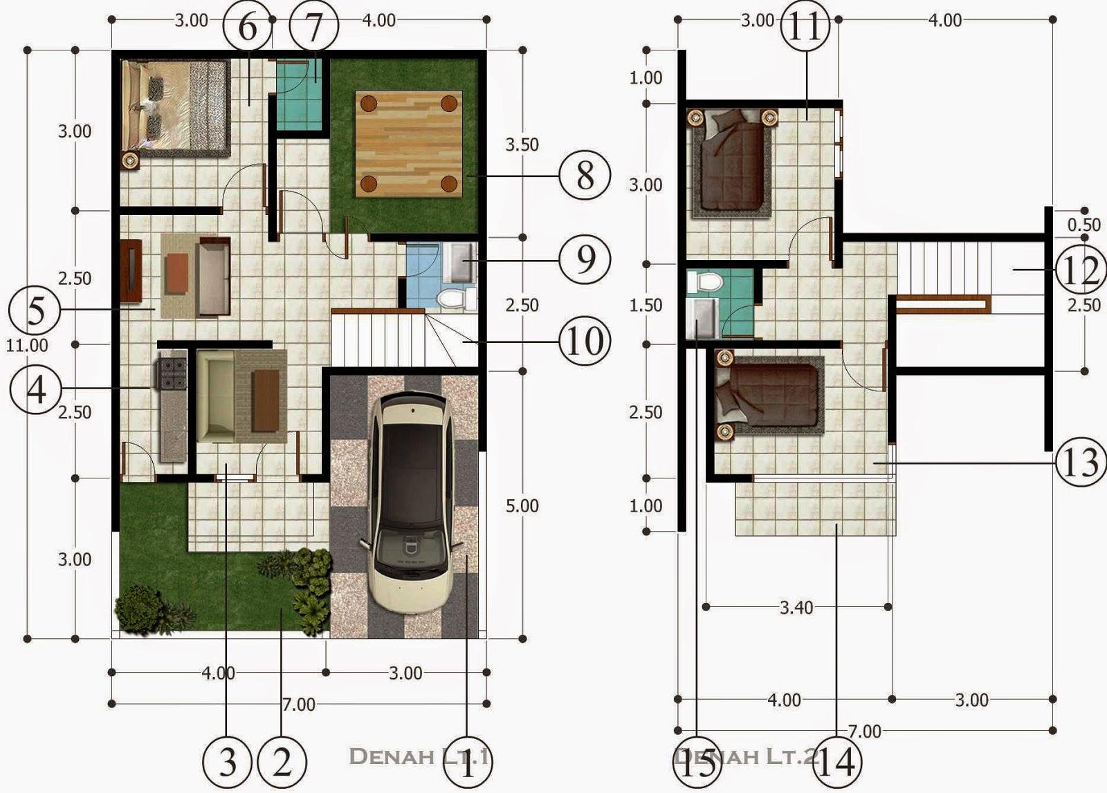 Denah Rumah 2 Lantai Type 70 Minimalis