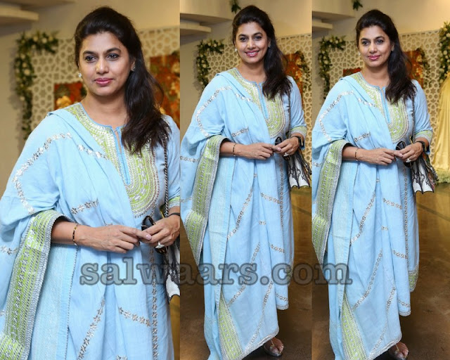 Pinky Reddy in Sky Blue Salwar
