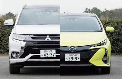 プリウスPHV アウトランダーPHEV 車体サイズ 比較写真