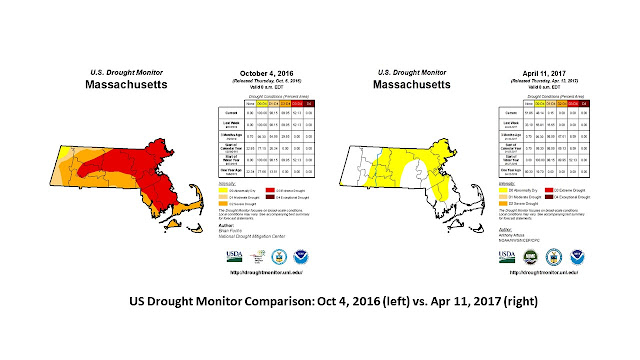 US Drought Monitor Comparison: Oct 4, 2016 (left) vs. Apr 11, 2017 (right)