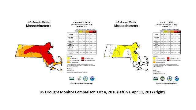 US Drought Monitor Comparison: Oct 4, 2016 (left) vs. Apr 11, 2017 (right)