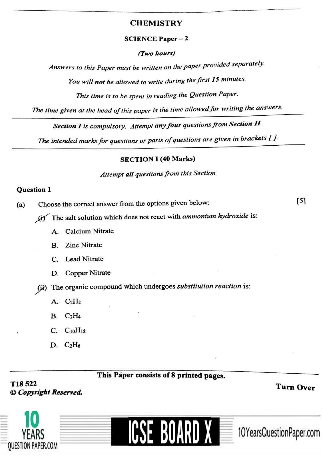ICSE Board 2018 class 10th Chemistry question paper Download page-01