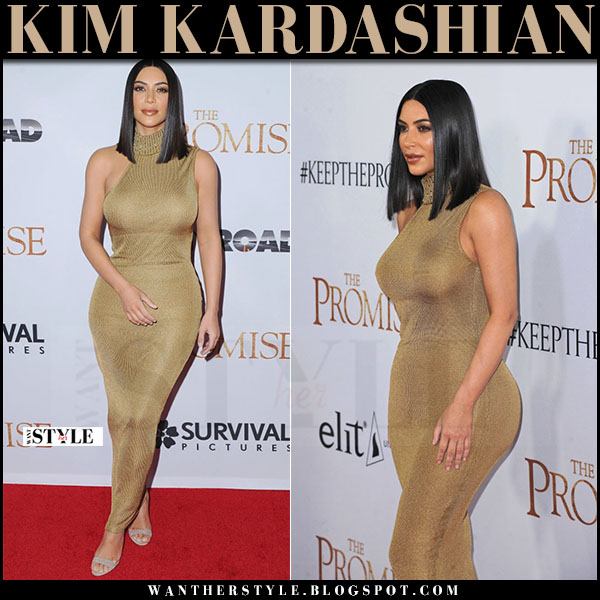 Kim Kardashian in gold knit versace maxi dress and manolo blahnik chaos sandals what she wore april 2017 red carpet outfit