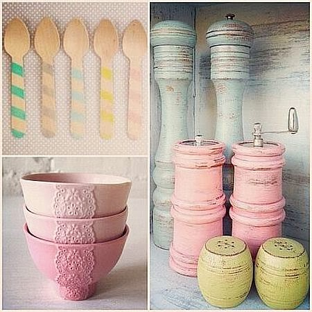 pastel pink, yellow and blue tableware
