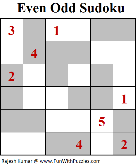 Even Odd Sudoku (Mini Sudoku Series #95)