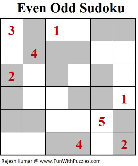 Even Odd Sudoku (Mini Sudoku Series #95)