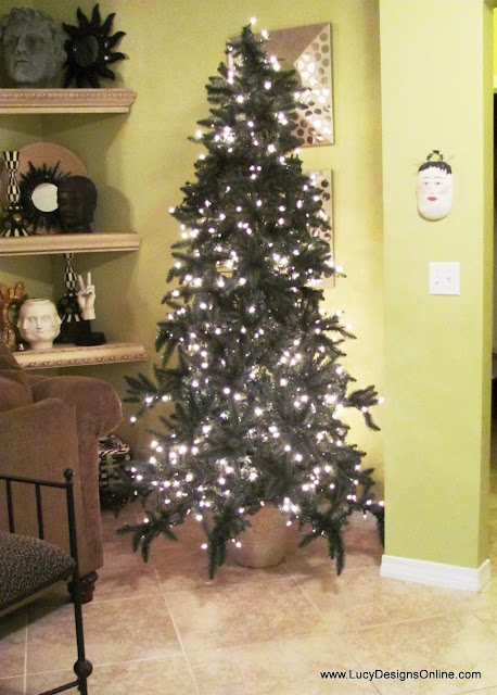 diy Christmas tree in an urn or pot