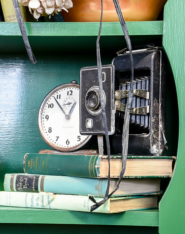 Vintage clocks and cameras