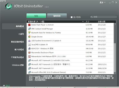 好用的免費軟體移除工具, IObit Uninstaller Portable V3.3.3.5321 多國語言綠色免安裝版!1