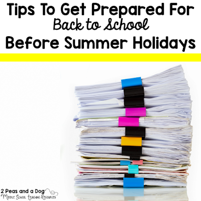 Quick tips to help teachers end the school year on a productive note to get ready for the next school year. Using this tips will help teachers stay focused and not use up their whole summer vacation planning by the 2 Peas and a Dog blog.