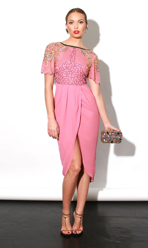 Beaded, Dress, Embellished, Faux Wrap, Half Sleeve, Made In Chelsea, Metallic, MIC, Midi Dress, Millie Mackintosh, Pink, Pleat Detail, Scalloped Edge, Sequins, V Back, Virgos Lounge, Wrap Front,