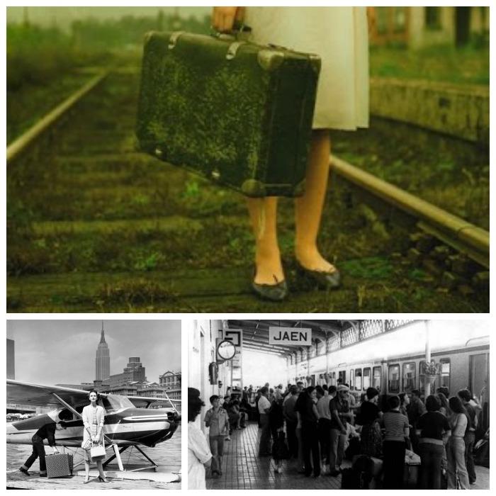 estaciones antiguas, viajeros, maletas,