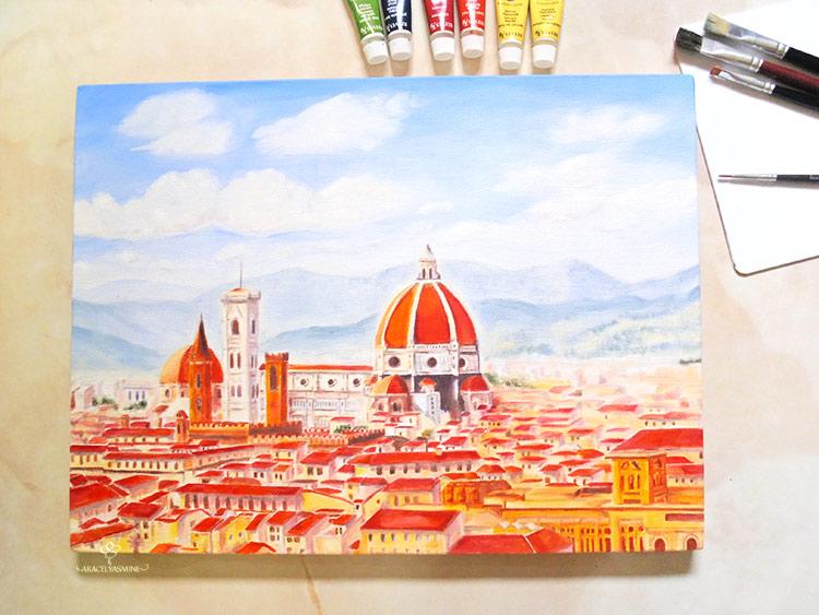 La catedral de Florencia al óleo