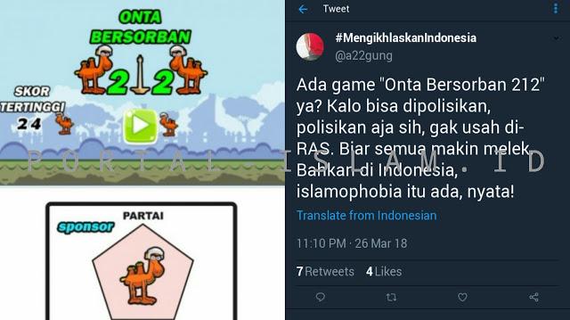"""VIRAL Game Playstore """"Onta Bersorban 212"""", Warganet NGAMUK!"""