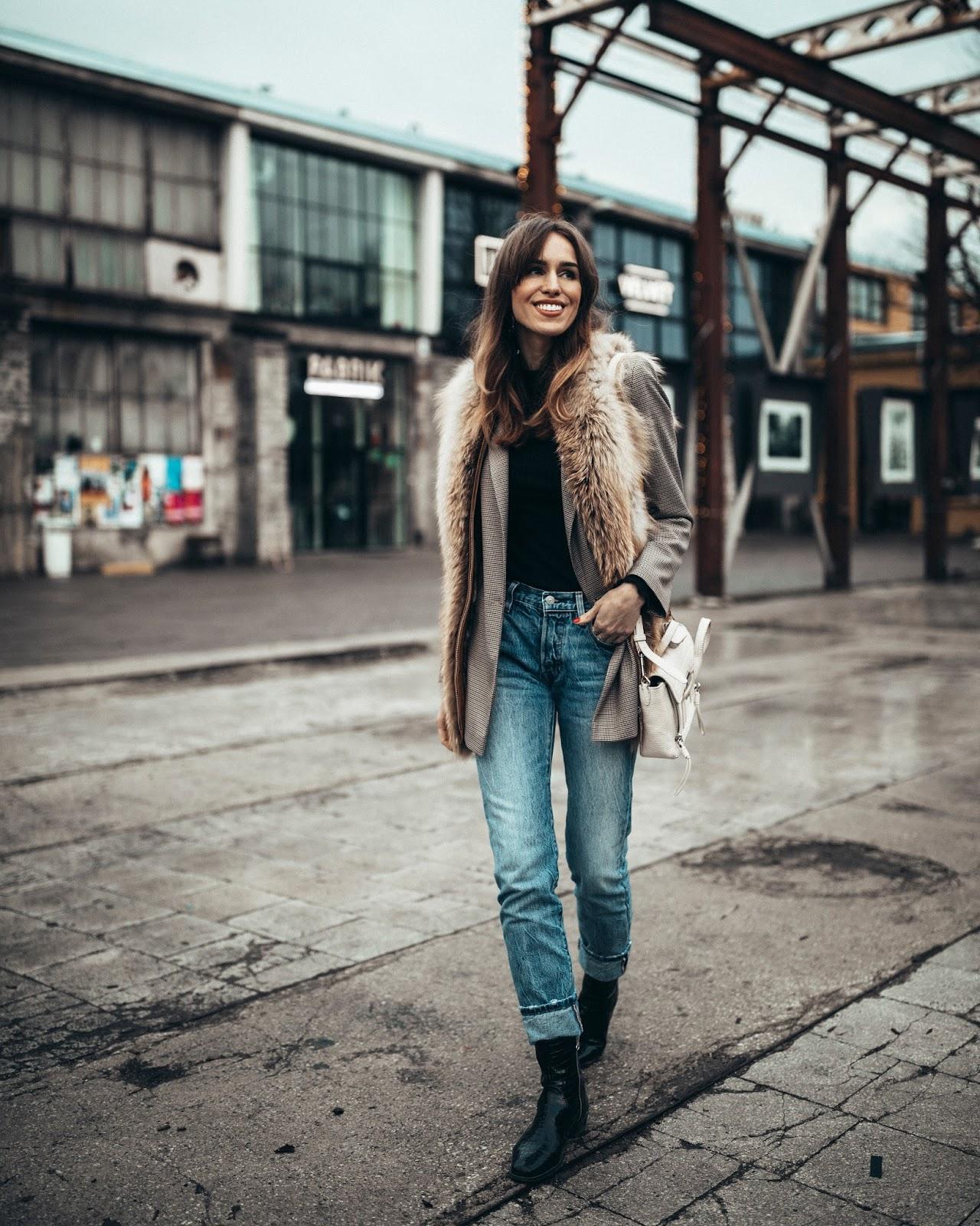 fur vest check blazer outfit winter