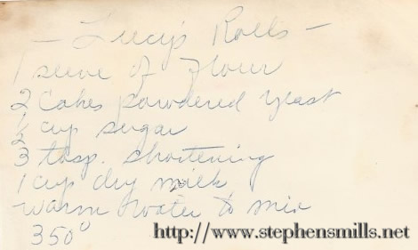Lucy Susan Emmons Richardson famous rolls recipe
