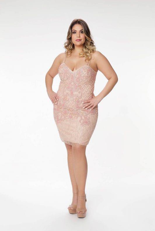 vestido de festa curto rosa