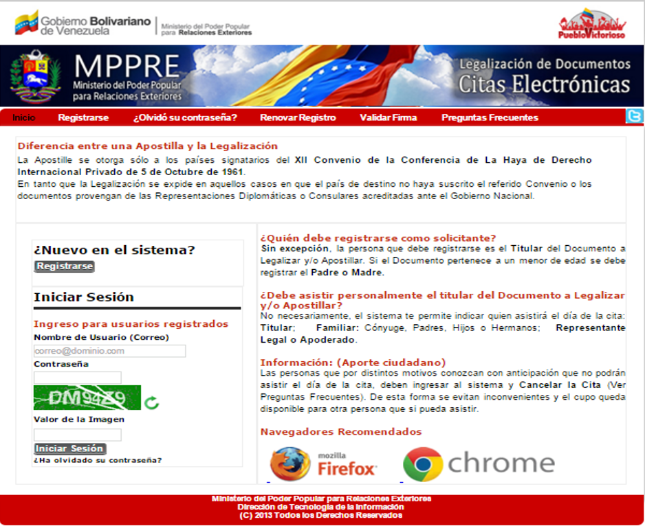 ministerio de relaciones exteriores venezuela citas para legalizar documentos