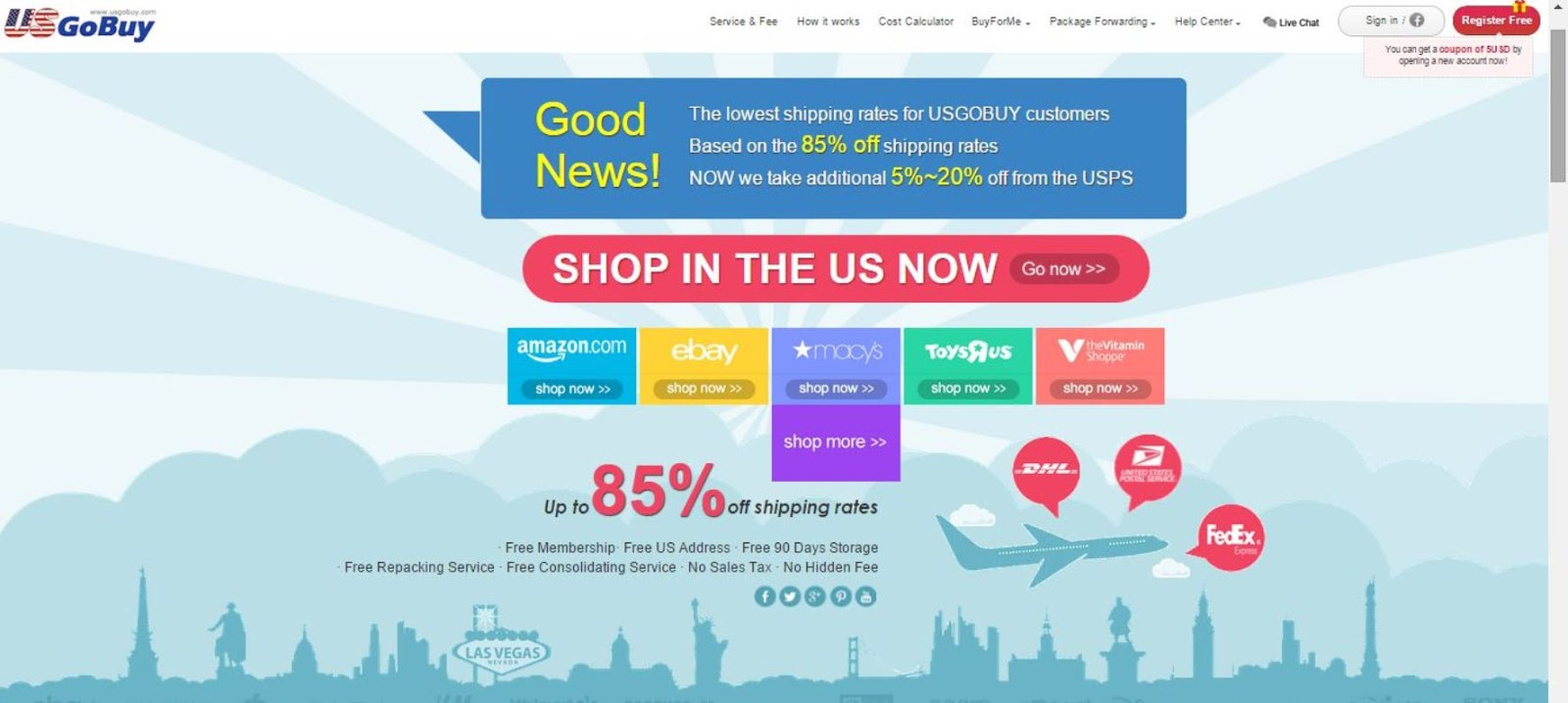 Package forwarding services for online shopping