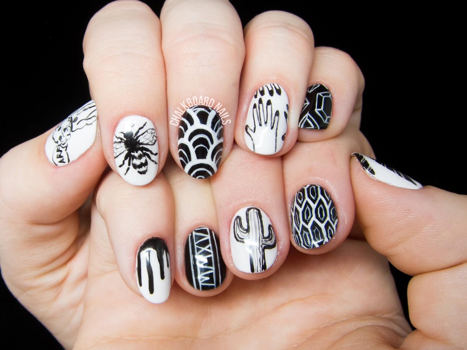 Personalized Black and White Freehand Nail Art
