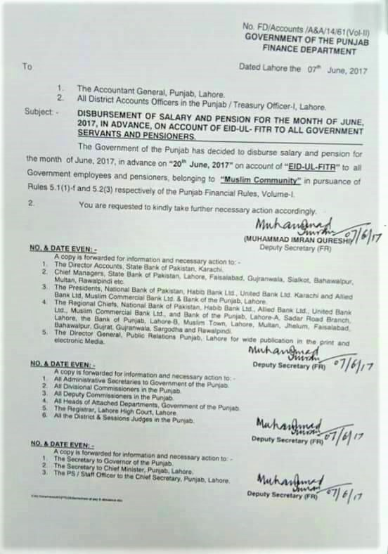 DISBURSEMENT OF SALARY AND PENSION FOR THE MONTH OF JUNE 2017 IN ADVANCE TO ALL THE GOVERNMENT EMPLOYEES AND PENSIONERS ON ACCOUNT OF EID-UL-FITR