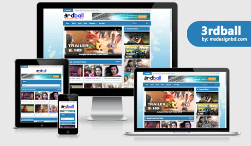 3rdball - Responsive Video Blogger Template