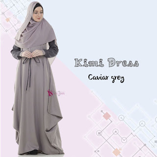 Gamis Valisha Kimi Dress Caviar Grey