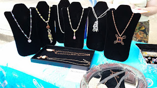 close up of necklaces