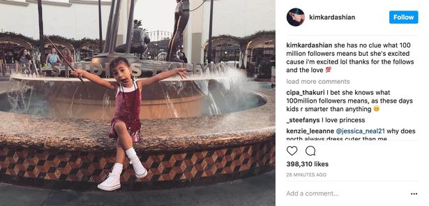 Kim Kardashian celebrates reaching 100m Instagram followers with sweet snap of North holding her Harry Potter wand