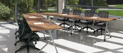 Global Total Office Junction Series V Shaped Modern Table Configuration