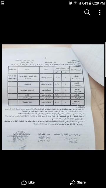 جدول الصف السادس  ترم أول محافظة الاقصر 2018