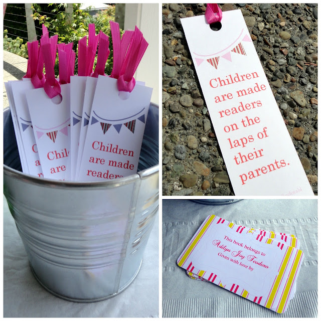 book theme baby shower book plates and custom book marks