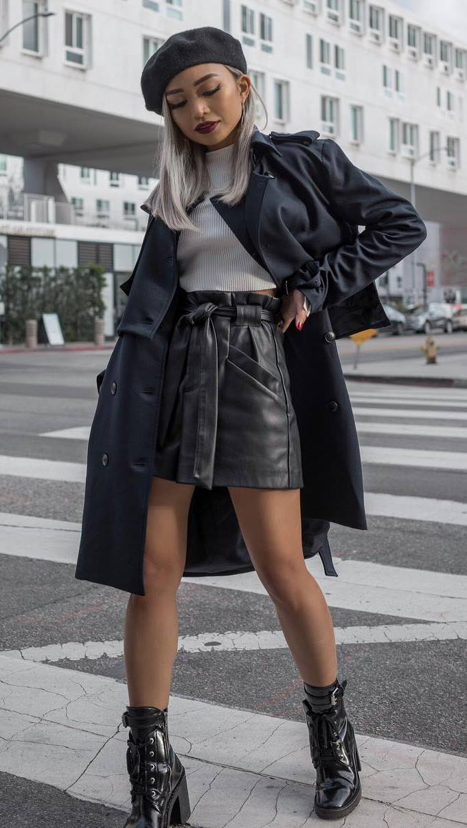 stylish look / trench coat + leather skirt +  + boots + hat + top