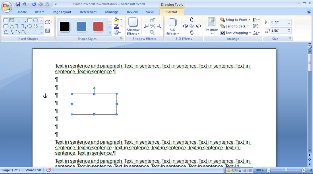 Daves tech docs creating a simple flowchart in microsoft word figure 4 adding a process shape ccuart Image collections