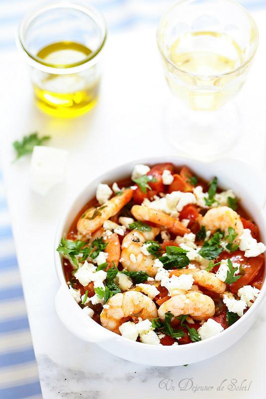 Crevettes saganaki (tomates, feta)