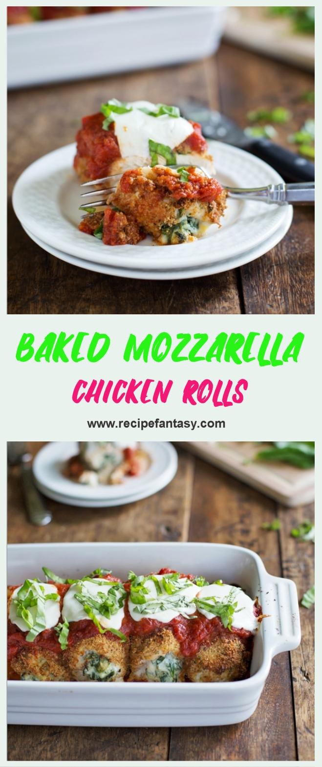 Baked Mozzarella Chicken Rolls