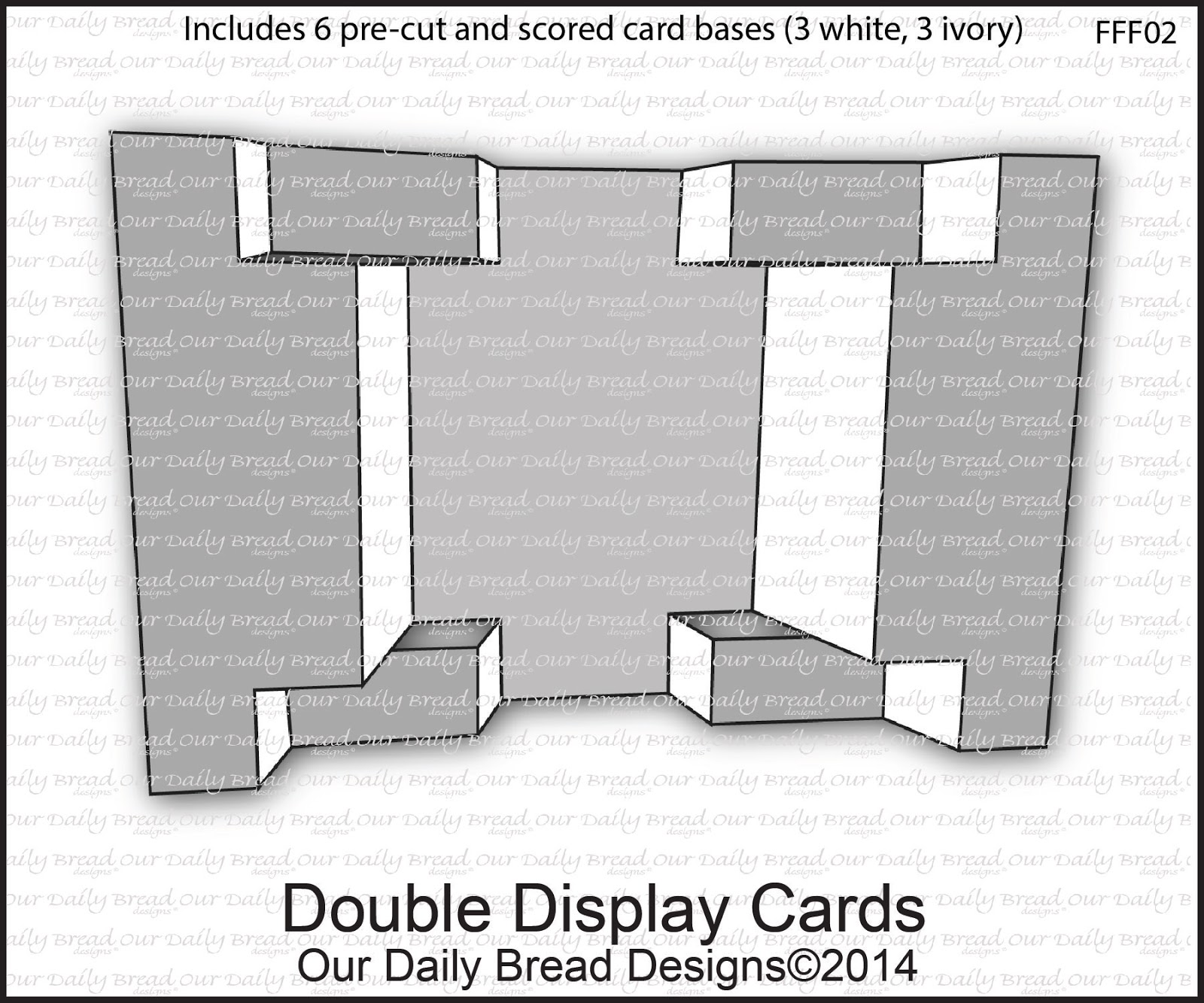 Our Daily Bread Designs Double Display Cards  - Includes 6 pre-cut and scored card bases (3 White, 3 Ivory)