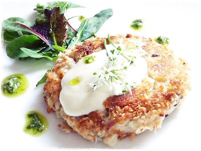 salmon fishcake with wild garlic pesto