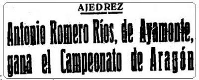 Antonio Romero Ríos Campeón de Ajedrez de Aragón en 1949